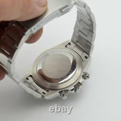 40mm PARNIS green dial illuminated men's watch quartz chronograph full range