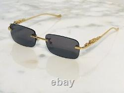 Braglia Panther Lion Tiger Clear Glasses Gold Rappers Shades Sunglasses Buffs 53
