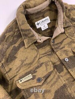 Columbia Gallatin Range Wool Brown Camo Shirt Button Up Hunt Jacket 2XL MENS Vtg