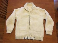 Gorgeous Vintage Cowichan-Style Wool Sweater, Blue Trail Gun Range, Talon Zipper