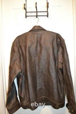 Men's LG Cody James DISTRESSED Brown RANGE GENUINE LEATHER Jacket Biker CJFA132