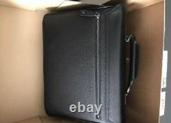 Montblanc Range Single Gusset Briefcase Soft Black Leather Notebook Bag 105933