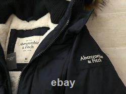 NEW Abercromb & Fitch Men's Sentinel Range Sherpa Parka Coat Navy Medium