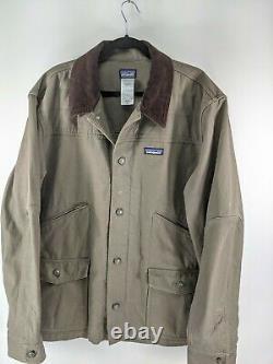 Patagonia Nuevo Range Cotton Duck Jacket Gray Brown Size Xl Corduroy Collar