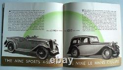 Singer Cars Range Sales Brochure 1937 Bantam Nine Twelve Sixteen Le Mans