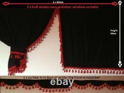 Truck Curtains Full Set Black/red Daf Scania Volvo Man Mercedes Iveco Renault