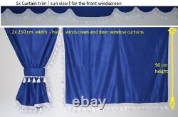 Truck Curtains Full Set- Blue/white Daf Scania Volvo Man Mercedes Iveco Renault