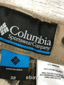 VTG Columbia Gallatin Range PHG Snow Wool Thick Camo Cargo Pants Size 38 X36