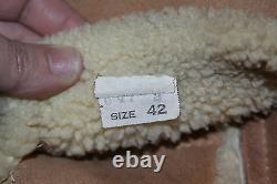 VTG Unbranded Shearling Sheepskin Marlboro Man Range Coat Sz 42