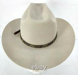 Vintage John B. Stetson 4X Beaver Range Cowboy Hat Gray With Snakeskin Band 56 7