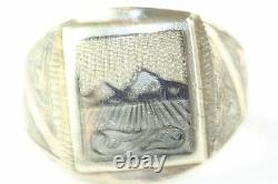 Vintage Russian 875 Silver Niello Mens Ring Mountain Range Scene Size 11.25