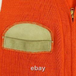 Vtg 40s 50s Range Vest SMALL Knit Leather Pad / Trim Hunter Orange Heritage