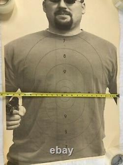 Vtg Shooting Range Target American Paper Poster 80s Man Sunglasses Man Cave