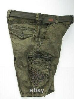 Affliction Hommes Gamme De Fret Court Avec Ceinture Couleur Olive Vintage Taille 32