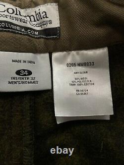 Columbia Gallatin Range Cargo Pantalons De Chasse Camo À L'extérieur 90% Laine Lourde 34x32