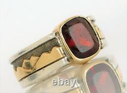 Custom Sterling 14k Yellow Gold Homme Signet Mountain Range Band Garnet Ring S10