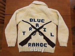 Magnifique Pull En Laine Vintage À La Cowichan, Gamme Blue Trail Gun, Fermeture Éclair Talon