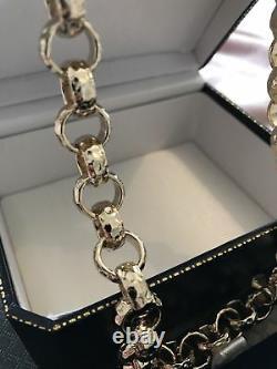 Mens Boys 18k Or Rempli Belcher Chaîne Collier Gamme Diamant Coupé Bling 18ct