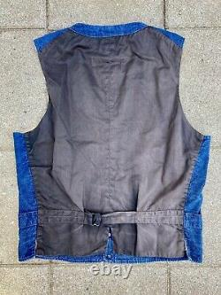 Mister Freedom X Cane De Sucre Indigo Toile Gamme Vest Taille 38 Japon Selvedge