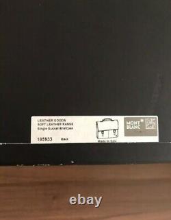 Montblanc Range Simple Gusset Briefcase Soft Black Leather Notebook Bag 105933
