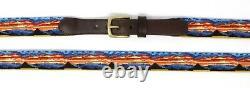 Mountain Range Needlepoint Mens Belt Cousu À La Main / Full Grain Leather Backing