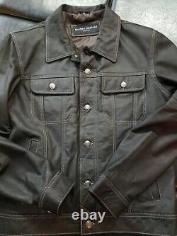 New Men Smart Range London Genuine Leather Trucker Jacket Black Levis Style M