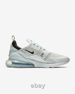 Nike Hommes Air Max 270 Taille 9 Eu 44 Blanc Noir Icônes Range Prc £130 Véritable