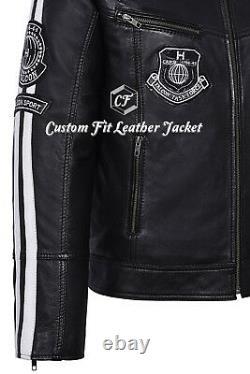 Smart Range Falcon Homme Black Biker Style Badges Real Motorcycle Leather Jacket