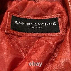Smart Range Veste De Moto En Cuir Rouge Biker Taille Moyenne Londres Uk Prépropriété