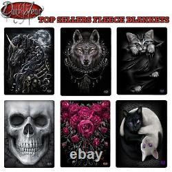Spiral Direct Full Range Fleece Blankets/unicorn/wolf/cat/skull/gift/roses/throw