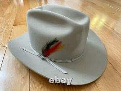 Stetson Beaver Range Cowboy Hat Beige Withred Feathers 4x Hat 58 7 1/4 Nouveau