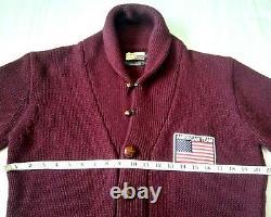 Superbe £185 Barbour Wool Shawl Collar Cardigan L Steve Mcqueen Range Vgc
