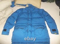 The North Face Himalayan Brooks Range Goose Down Parka Coat Brown Label USA Bleu