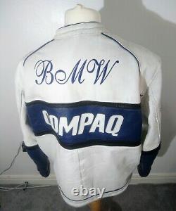 Veste De Vélo En Cuir Vintage Top Range White Bmw Compaq Castrol XXXL