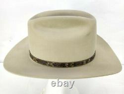 Vintage John B. Stetson 4x Beaver Range Cowboy Hat Gray Avec Bande De Snakeskin 56 7