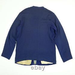 Vtg 40s 50s Range Jacket S/m Knit Leather Pad / Trim Ranch House Gun Club Bleu