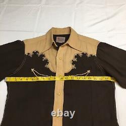 Vtg 40s 50s Range Master Brown Western Rockabilly Pearl Button Chemise Hommes Petit