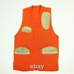 Vtg 40s 50s Range Vest Small Knit Pad En Cuir / Trim Hunter Orange Heritage