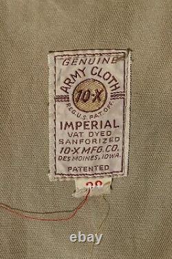 Vtg Army Cloth 10x Imperial Sanforized Men's Shooting Range Veste Avec Patchs 36