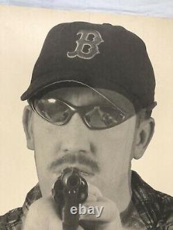 Vtg Champ De Tir Cible American Paper Poster 80s Boston Red Sox Man Cave