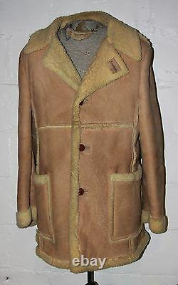 Vtg Manteau De Moutons Sans Marque Marlboro Man Range Manteau Sz 42