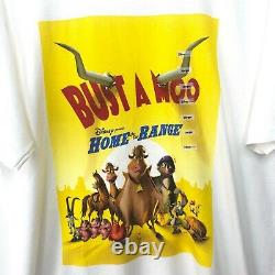 Y2k Disney Home On The Range Movie Promo T-shirt Homme Taille L/xl Bust A Moo Nwt